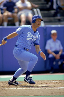 JULY - 1987:  George Brett #5 of the Kansas City Royals watches the flight of the ball as he follows through on his swing during a game in July of 1987.  (Photo by Gray Mortimore/Getty Images)