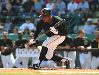 BRADENTON, FL - MARCH 8:  Outfielder Nyjer Morgan #3 of the Pittsburgh Pirates sets to bunt against the Houston Astros March 8, 2009 at McKechnie Field in Bradenton, Florida.  (Photo by Al Messerschmidt/Getty Images)