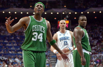 ORLANDO, FL - MAY 10:  Paul Pierce #34 of the Boston Celtics complains to the ref while playing against the Orlando Magic in Game Four of the Eastern Conference Semifinals during the 2009 NBA Playoffs at Amway Arena on May 10, 2009 in Orlando, Florida. NO