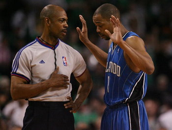 BOSTON - MAY 06:  Rafer Alston #1 of the Orlando Magic pleads his case with a referee as the Boston Celtics shoot a free throw in Game Two of the Eastern Conference Semifinals during the 2009 NBA Playoffs at TD Banknorth Garden on May 6, 2009 in Boston, M
