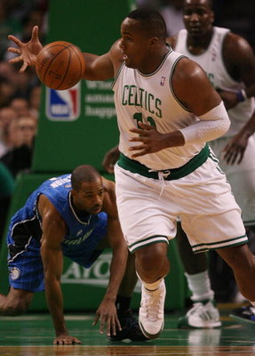 BOSTON - MAY 04:  Glen Davis #11 of the Boston Celtics makes the steal after Rafer Ashton #1 of the Orlando Magic loses the ball in Game One of the Eastern Conference Semifinals during the 2009 NBA Playoffs at TD Banknorth Garden on May 4, 2009 in Boston,