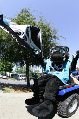 CHARLOTTE, NC - SEPTEMBER 11:  Sir Purr, the Panthers mascot poses for a photo outside Bank of America Stadium prior to the Carolina Panthers season home opener against the New Orleans Saints on September 11, 2005 in Charlotte, North Carolina.  The Saints