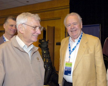 Pittsburgh Steelers owner Dan Rooney and New Orleans Saints owner Tom Benson at the 2006 annual meeting March 27, 2006  at the Hyatt Regency Grand Cypress.  (Photo by Al Messerschmidt/Getty Images)