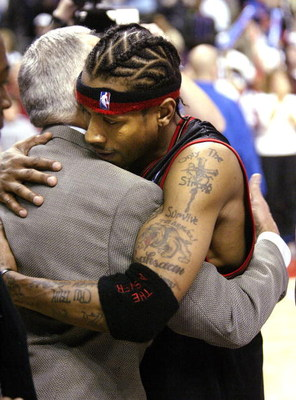 AUBURN HILLS, MI - MAY 3: Allen Iverson #3 of the Philadelphia 76ers embraces Larry Brown of the Detroit Pistons after Game five of the Eastern Conference Quarterfinals during the 2005 NBA Playoffs on May 3, 2005 at The Palace in Auburn Hills, Michigan. T
