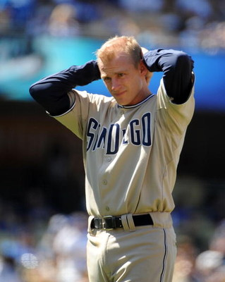 LOS ANGELES, CA - MAY 03:  David Eckstein #3 of the San Diego Padres reacts after making the third out in the game against the Los Angeles Dodgers during the fourth inning at Dodger Stadium on May 3, 2009 in Los Angeles, California.  (Photo by Harry How/G