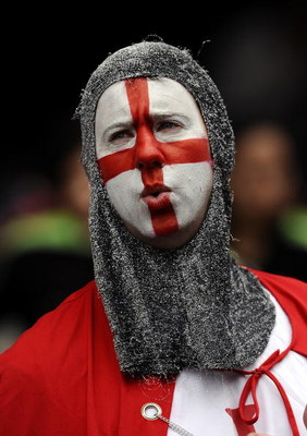 HONG KONG - MARCH 29:  A rugby fan with face painted with the England national colours enjoys day three of the IRB Hong Kong Sevens at Hong Kong Stadium on March 29, 2009 in Hong Kong. (Photo by Victor Fraile/Getty Images)
