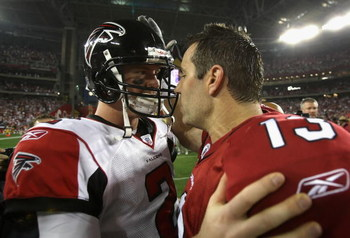 GLENDALE, AZ - JANUARY 03:  Quarterbacks Matt Ryan #2 of the Atlanta Falcons and Kurt Warner #13 of the Arizona Cardinals greet after the NFC Wild Card Game on January 3, 2009 at University of Phoenix Stadium in Glendale, Arizona. The Cardinals defeated t
