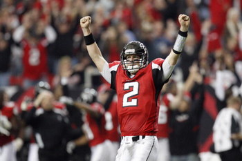 ATLANTA - NOVEMBER 16:  Quarterback Matt Ryan #2 of the Atlanta Falcons celebrates the touchdown during the game against the Denver Broncos at the Georgia Dome on November 16, 2008 in Atlanta, Georgia.  (Photo by Kevin C. Cox/Getty Images)