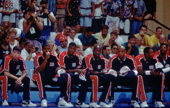 1992:  TEAM USA AWAITS THEIR NEXT MATCH DURING THE 1992 OLYMPIC GAMES IN BARCELONA. Mandatory Credit: Mike Powell/ALLSPORT