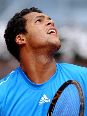 MADRID, SPAIN - MAY 11:  Jo-Wilfried Tsonga of France in action in his first round match against Marat Safin of Russia during the Madrid Open tennis tournament at the Caja Magica on May 11, 2009 in Madrid, Spain. Tsjonga won the match in two sets, 6-4 and