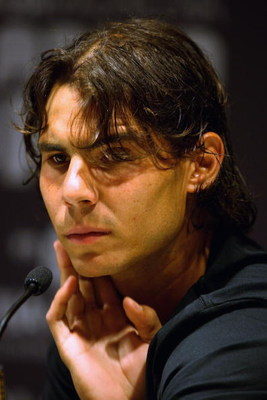 MADRID, SPAIN - MAY 09:  Rafael Nadal of Spain holds a press conference prior to the Madrid Open tennis tournament at the Caja Magica on May 9, 2009 in Madrid, Spain.  (Photo by Clive Brunskill/Getty Images)