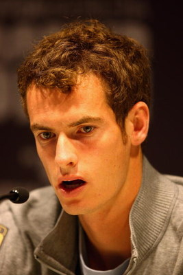 MADRID, SPAIN - MAY 11:  Andy Murray of Great Britain gives a press conference during the Madrid Open tennis tournament at the Caja Magica on May 11, 2009 in Madrid, Spain.  (Photo by Clive Brunskill/Getty Images)