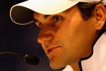 MADRID, SPAIN - MAY 10:  Roger Federer of Switzerland holds a press conference during the Madrid Open tennis tournament at the Caja Magica on May 10, 2009 in Madrid, Spain.  (Photo by Clive Brunskill/Getty Images)