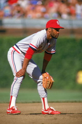 CHICAGO - 1987:  Ozzie Smith #1 of the St. Louis Cardinals readies for a play during a game with the Chicago Cubs in 1987 at Wrigley Field in Chicago, Illinois.  (Photo by Jonathan Daniel/Getty Images)