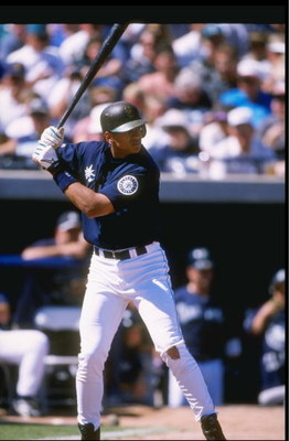 11 Mar 1998:  Infielder Alex Rodriguez of the Seattle Mariners in action during a spring training game against the Arizona Diamondbacks at the Peoria Sports Complex in Peoria, Arizona. Mandatory Credit: Jed Jacobsohn  /Allsport