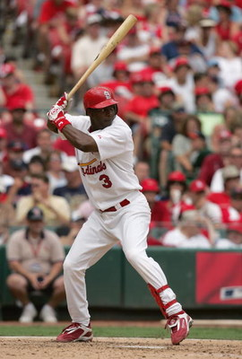 ST. LOUIS - JULY 4:  Edgar Renteria #3 of the St. Louis Cardinals stands ready at bat during the game against the Seattle Mariners on July 4, 2004 at Busch Stadium in St. Louis, Missouri. The Cardinals won 2-1.  (Photo by Dilip Vishwanat/Getty Images)