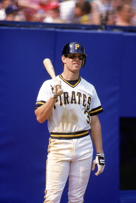 PITTSBURGH - 1990:  Jay Bell #3 of the Pittsburgh Pirates looks on as he waits to bat during a 1990 MLB season game at Three Rivers Stadium in Pittsburgh, Pennsylvania. (Photo by Rick Stewart/Getty Images)