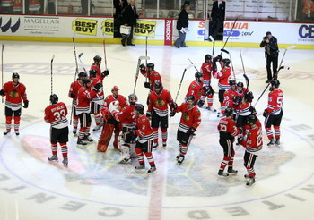 CHICAGO - MAY 11:  The Chicago Blackhawks celebrate after their 7-5 win against the Vancouver Canucks during Game Six of the Western Conference Semifinal Round of the 2009 Stanley Cup Playoffs on May 11, 2009 at the United Center in Chicago, Illinois.  (P