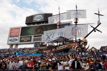TAMPA, FL - FEBRUARY 01:  A detailed picture of the scoreboard and pirate ship in the stands before Super Bowl XLIII between the Arizona Cardinals and the Pittsburgh Steelers on February 1, 2009 at Raymond James Stadium in Tampa, Florida.  (Photo by Jamie