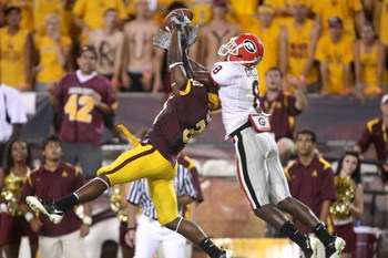 TEMPE, AZ - SEPTEMBER 20:  Cornerback Pierre Singfield #31 of the Arizona State Sun Devils breaks up a pass in the end zone intended for flander A.J. Green #8 of the Georgia Bulldogs  on September 20, 2008 at Sun Devil Stadium in Tempe, Arizona.  Georgia 
