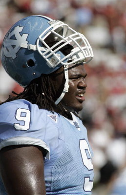 CHAPEL HILL, NC - OCTOBER 13: Marvin Austin #9 of the North Carolina Tar Heels looks on during the game against the South Carolina Gamecocks at Kenan Stadium October 13, 2007 in Chapel Hill, North Carolina. South Carolina won 21-15. (Photo by Grant Halver