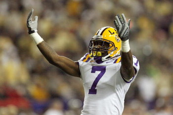 ATLANTA - DECEMBER 31:  Patrick Peterson #7 of the LSU Tigers celebrates on the field during the Chick-fil-A Bowl against the Georgia Tech Yellow Jackets on December 31, 2008 at the Georgia Dome in Atlanta, Georgia. (Photo by Kevin C. Cox/Getty Images)