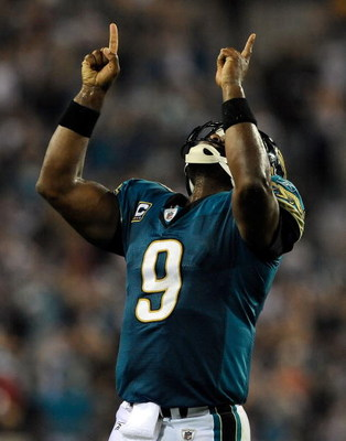JACKSONVILLE, FL - DECEMBER 18:  David Garrard #9 of the Jacksonville Jaguars celebrates a touchdown during the game against the Indianapolis Colts at Jacksonville Municipal Stadium on December 18, 2008 in Jacksonville, Florida.  (Photo by Sam Greenwood/G