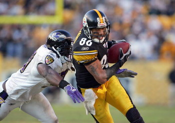 PITTSBURGH - DECEMBER 24: Hines Ward #86 of the Pittsburgh Steelers carries the ball during the game against the Baltimore Ravens on December 24, 2006 at Heinz Field in Pittsburgh, Pennsylvania. (Photo by Chris McGrath/Getty Images)