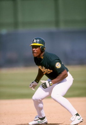 6 Mar 1998:  Outfielder Rickey Henderson of the Oakland Athletics in action during a spring training game against the Chicago White Sox at the Phoenix Municipal Stadium in Phoenix, Arizona. The Athletics defeated the White Sox 3-1. Mandatory Credit: Brian
