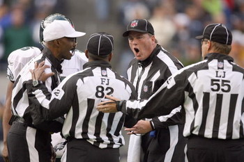 SEATTLE - NOVEMBER 02:  Referees argue the call during the game between the Seattle Seahawks and the Philadelphia Eagles at Qwest Field on November 2, 2008 in Seattle, Washington. (Photo by Otto Greule Jr/Getty Images)