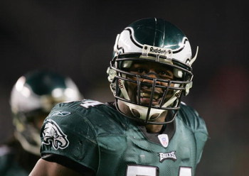 PHILADELPHIA - DECEMBER 5:  Jeremiah Trotter #54 of the Philadelphia Eagles stands on the field during the game against the Green Bay Packers at Lincoln Financial Field on December 5, 2004 in Philadelphia, Pennsylvania. The Eagles defeated the Packers 47-