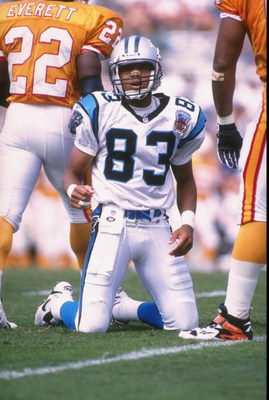 1 Oct 1995:  Wide receiver Mark Carrier #83 of the Carolina Panthers looks to the sideline from his knees after being knocked to the ground during an unsuccessfull  pass play in the Panthers 20-13 loss to the Tampa Bay Buccaneers at Memorial Stadium in Cl