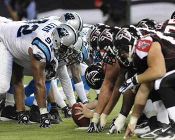 ATLANTA - NOVEMBER 23: The Atlanta Falcons line up against the Carolina Panthers at the Georgia Dome on November 23, 2008 in Atlanta, Georgia.  (Photo by Al Messerschmidt/Getty Images)