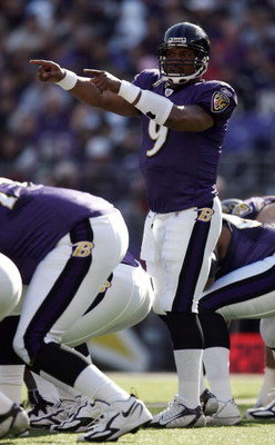 BALTIMORE - NOVEMBER 05:  Steve McNair #9 of the Baltimore Ravens calls a play against the Cincinnati Bengals during the second quarter on November 5, 2006 at M&T Bank Stadium in Baltimore, Maryland.  (Photo by Harry How/Getty Images)