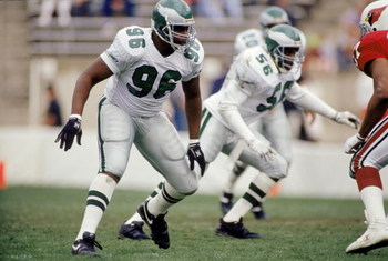 TEMPE, AZ - DECEMBER 22:  Defensive end Clyde Simmons #96 of the Philadelphia Eagles rushes the passer of the Arizona Cardinals in Sun Devil Stadium on December 22, 1990 in Tempe, Arizona.  The Eagels won 23-21.  (Photo by Stephen Dunn/Getty Images)