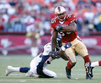 SAN FRANCISCO - AUGUST 13:  Running back Thomas Clayton #35 of the San Francisco 49ers runs for yards against the Denver Broncos in a pre-season game at Monster Park August 13, 2007 in San Francisco, California.  (Photo by Greg Trott/Getty Images)