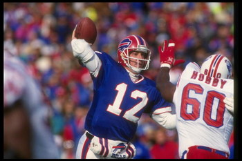 1 Nov 1992:  Quarterback Jim Kelly of the Buffalo Bills passes the ball during a game against the New England Patriots at Rich Stadium in Orchard Park, New York.  The Bills won the game, 16-7. Mandatory Credit: Rick Stewart  /Allsport
