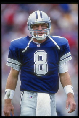 22 Nov 1992:  Quarterback Troy Aikman of the Dallas Cowboys looks on during a game against the Phoenix Cardinals at Sun Devil Stadium in Tempe, Arizona.  The Cowboys won the game, 16-10. Mandatory Credit: Otto Greule  /Allsport