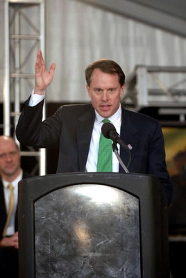 CHARLOTTE, NC - JANUARY 25:  Winston Kelley, Executive Director of the NASCAR Hall of Fame, gives a speech during the groundbreaking ceremony for the NASCAR Hall of Fame on January 25, 2007 in Charlotte, North Carolina.  (Photo by Davis Turner/Getty Image