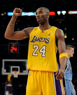 LOS ANGELES, CA - APRIL 27:  Kobe Bryant #24 of the Los Angeles Lakers reacts after making a basket and getting fouled in the second quarter against the Utah Jazz in Game Five of the Western Conference Quarterfinals during the 2009 NBA Playoffs at Staples