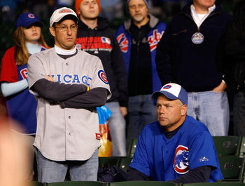CHICAGO - OCTOBER 02:  Fans of the Chicago Cubs looks on dejected as the Los Angeles Dodgers beat the Cubs 10-3 in Game Two of the NLDS during the 2008 MLB Playoffs at Wrigley Field on October 2, 2008 in Chicago, Illinois.  (Photo by Jamie Squire/Getty Im