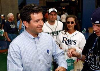 ST. PETERSBURG, FL - APRIL 08: Principal owner Stuart Sternberg of the Tampa Bay Rays talks with fans prior to the game against the Seattle Mariners on April 8, 2008 at Tropicana Field in St. Petersburg, Florida. (Photo by J. Meric/Getty Images)