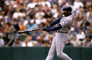 10 Jun 1998:  Ken Griffey Jr. #24 of the Seattle Mariners in action during a game against the San Francisco Giants at 3 Com Park in San Francisco, California. The Mariners defeated the Giants 4-1. Mandatory Credit: Otto Greule Jr.  /Allsport