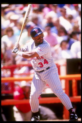 Outfielder Kirby Puckett of the Minnesota Twins at bat during a game against the California Angels at Anaheim Stadium in Anaheim, California.