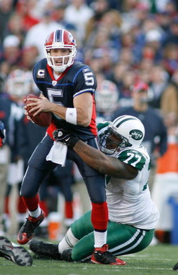 ORCHARD PARK, NY - NOVEMBER 02: Kris Jenkins #77 of the New York Jets sacks Trent Edwards #5 of the Buffalo Bills   on November 2, 2008 at Ralph Wilson Stadium in Orchard Park, New York. New York won 26-17. (Photo by Rick Stewart/Getty Images)