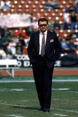 LOS ANGELES - DECEMBER 27:  Head coach Mike Ditka of the Chicago Bears walks on the field as the bears prepare to take on the Los Angeles Raiders at the Los Angeles Memorial Coliseum on December 27, 1987 in Los Angeles, California.  The Bears won 6-3.   (