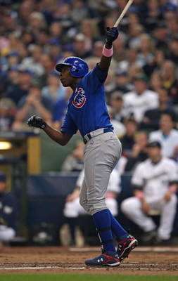 MILWAUKEE - MAY 10: Alfonso Soriano #12 of the Chicago Cubs hits a two-run home run in the 3rd inning against the Milwaukee Brewers on May 10, 2009 at Miller Park in Milwaukee, Wisconsin. The Cubs defeated the Brewers 4-2. (Photo by Jonathan Daniel/Getty