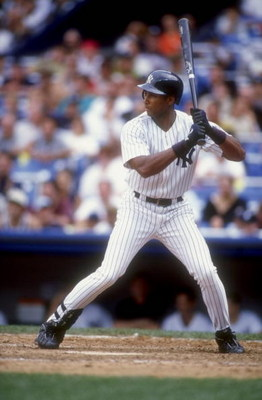 26 Aug 1998:  Bernie Williams #51 of the New York Yankees in his batting stance during a game against the Anaheim Angels at Yankee Stadium in the Bronx, New York. The Angels defeated the Yankees 6-4.