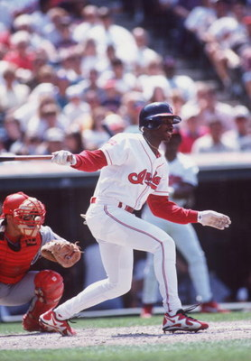 18 May 1996:  Outfielder Kenny Lofton of the Cleveland Indians in action during the Indians 6-3 loss to the Texas Rangers at Jacobs Field in Cleveland, Ohio. Mandatory Credit: Rick Stewart/ALLSPORT