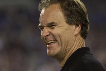 28 Jan 2001:   Head coach Brian Billick of the Baltimore Ravens shares a laugh during Super Bowl XXXV against the New York Giants at Raymond James Stadium in Tampa, Florida.  The Ravens won the game 34-7. DIGITAL IMAGE. Mandatory Credit: Tom Hauck/ALLSPOR